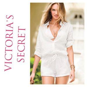 Victoria's Secret white linen romper
